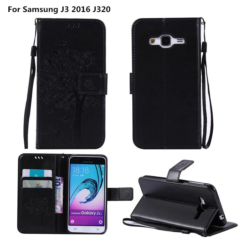 Coque Pour Samsung <font><b>J3</b></font> <font><b>2016</b></font> <font><b>J320</b></font> De Luxe En Relief Portefeuille En Cuir Flip couverture de Cas Pour Samsung <font><b>Galaxy</b></font> J 3 <font><b>2016</b></font> <font><b>SM</b></font> J320F Emboss Shell