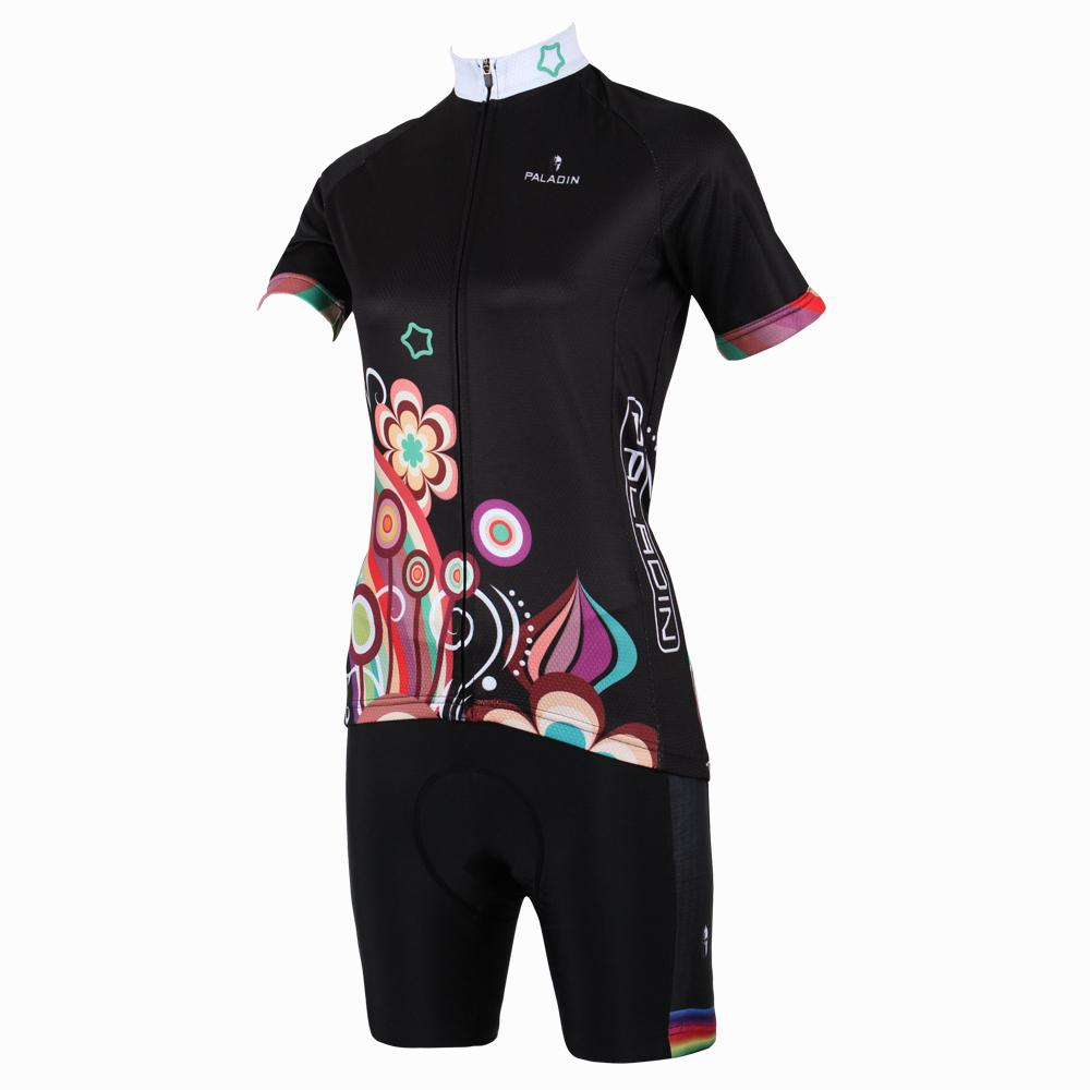 Cycling Jersey 176 Top Quality Hot cycling jerseys Stars+Flowers Black Summer Cycling Jersey 2017s Anti UV & Compressed Women ad 176 top quality hot cycling jerseys red lotus summer cycling jersey 2017s anti uv female adequate quality sleeve cycling clothin