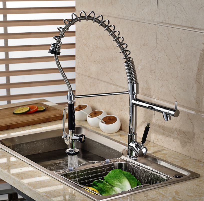 все цены на Chrome Polished Two Spouts Swivel Kitchen Sink Pull Down Spray Faucet Mixer Tap One Hole