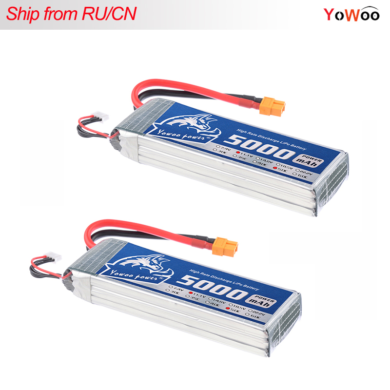 2pcs FPV 450 500 AKKU Lipo 3s Battery YOWOO 11.1V 5000mAh 50C Max 100C For Traxxas Helicopter FPV 450 Airplane Quadcopter Car yowoo fpv 450 500 akku lipo battery 2s 3s 7 4v 11 1v 5000mah 50c max 100c for traxxas helicopter fpv 450 airplane quadcopter car