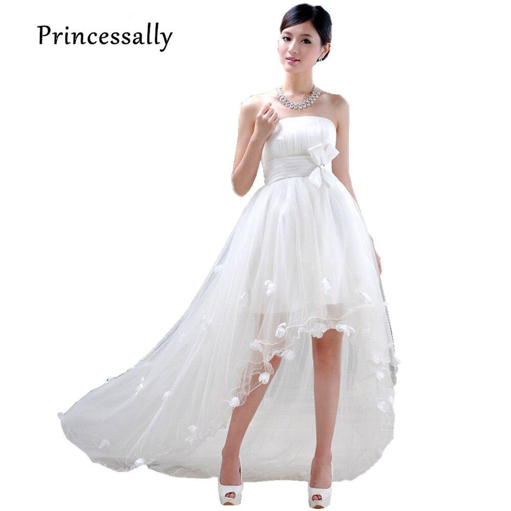 0df85b2228715 High Low Wedding Dress Mermaid Train Bride Tube Top Flower Wedding Dress  Short Front Long Back Cheap Wedding Dress Under 50-in Wedding Dresses from  Weddings ...