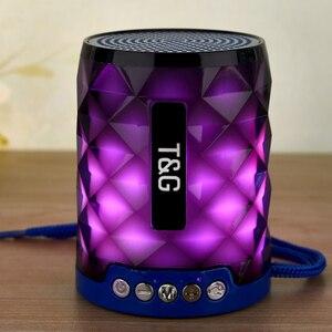 Image 3 - T & G 155 Mini haut parleur Bluetooth diamant Portable lumière LED extérieur sans fil haut parleur Support mains libres appel TF carte USB disque
