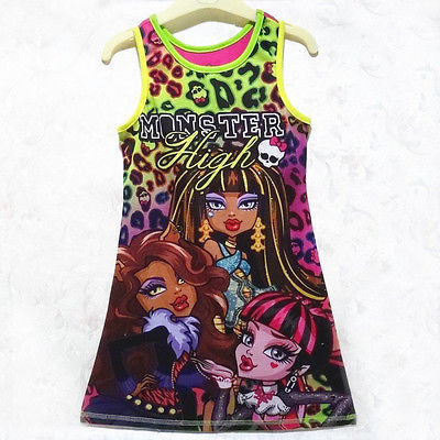New Hot Cartoon Monster High Summer Kids Girls Party Sleeveless Dress Summer Casual Sundress 4-14Y hoya hmc uv c 67mm