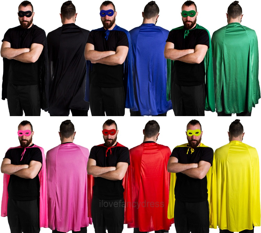 SUPERHERO CAPE 6 COLOURS CLOAK AND EYE MASK COMIC ADULT HALLOWEEN FANCY DRESS CHARACTER COSPLAY COSTUME FOR MEN HEROES FAST SHI