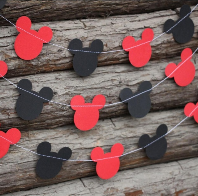 (2pieces/lot) 5 Feets Medium Mickey Mouse Head Garland For Birthday Party  Baby