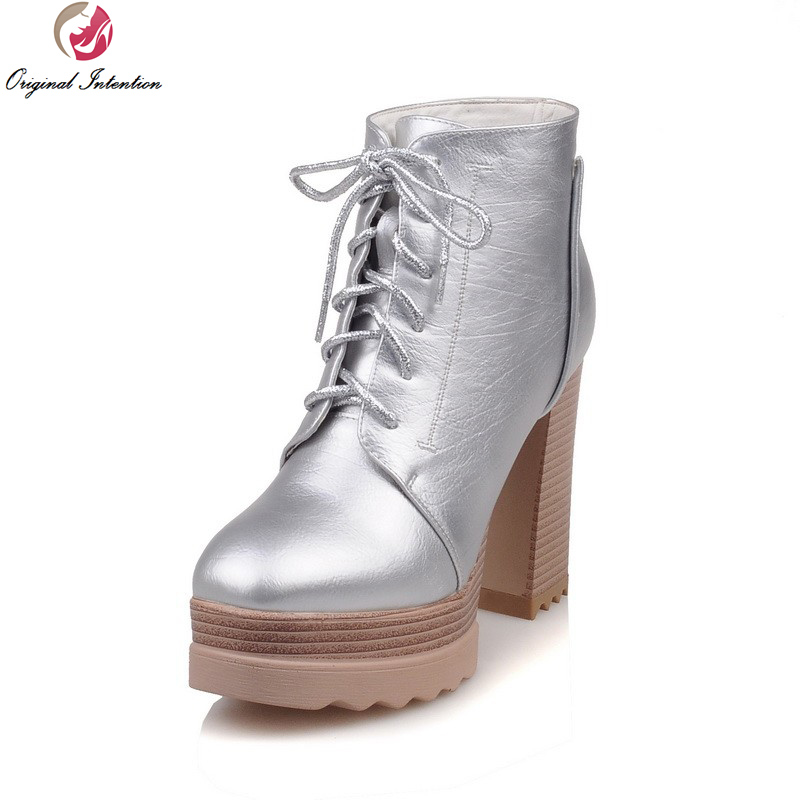 Original Intention Elegant Women Ankle Boots Stylish Round Toe Square Heels Boots Black Brown Silver Shoes Woman US Size 3.5-10 berdecia hollow out ankle round toe women boots low square heels cross tied female shoes elegant riding equeatrian women boots