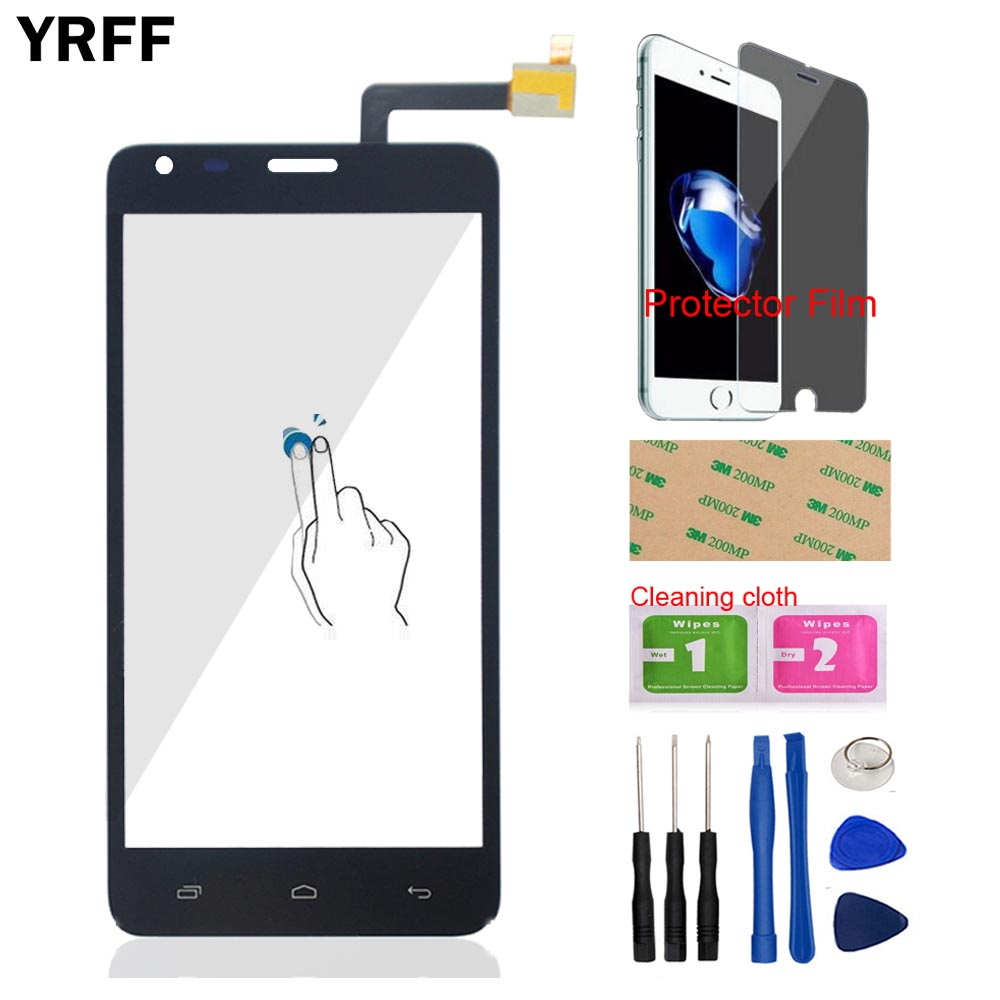 5.0 Front Glass Touch Screen Touch Digitizer Panel For Fly IQ456 ERA Life 2 Fly IQ 456 Sensor Tools Protector Film Adhesive