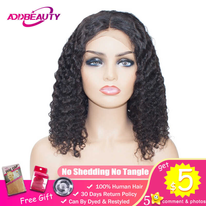 Короткий Боб волна воды 13x4 парик фронта шнурка для черных женщин Бразильский Человеческие волосы Remy из натуральных вьющихся волос волосы линии предварительно сорвал Addbeauty