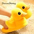 DreamShining Новый Милая Пара Хлопок Тапочки Большой Желтый Утка Кукла Небольшой Ковер Пола Тапочки Домашние Zapatillas