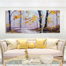 Laeacco 3 Panel Painting Calligraphy Canvas Trees River Wall Art Nordic Autumn Prints and Forest Posters Home Living Room Decor