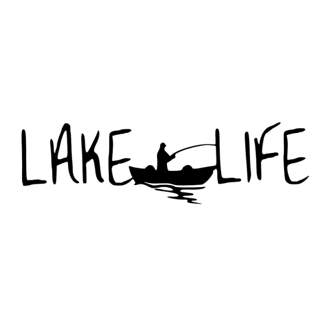 12cm*3.5cm Lake Life Fashion Fishing Stickers Decals Decor