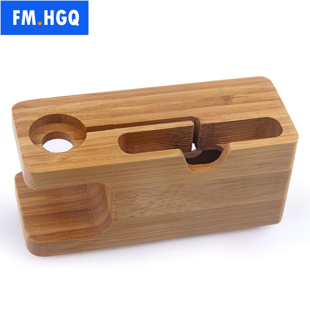 FM.HGQ Wooden Charging Dock Station for Mobile Phone Holder Stand Bamboo Charger Stand Base For Apple Watch and For iphone