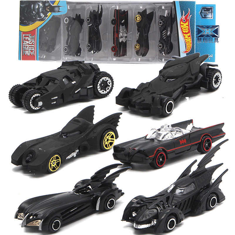 1:64 6 Pcs/Set Bat Chariot Set Alloy Car Models Toy American Movie 6th Generation Bat Chariot Metal Cars Suit For Children Gifts
