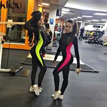 patchwork push up fitness jumpsuits