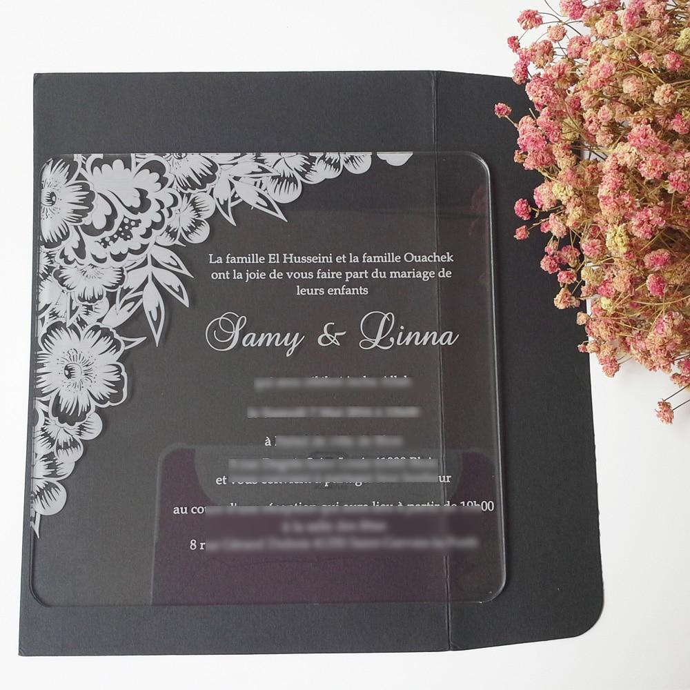 100ks na jednu dávku Krásná květina 7 * 7 palců čtvercový tvar laserové rytí dopisy jasné akrylové svatební pozvánky