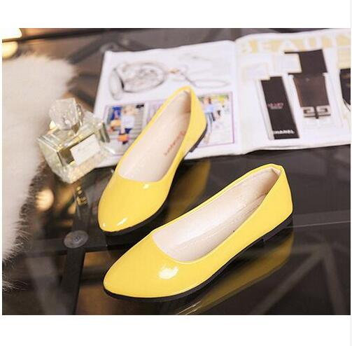 New arrival Cheap Price Pu leather pointed toe single shoes women Shiny Leather comfortable flats Daily Wear Casual Shoes No Box free shipping new chic metal pointed closed toe transparent shiny pointed ballet flat shoes women s shoes sjl167