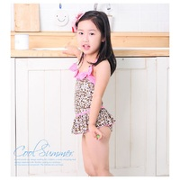 2014 Leapord Girls Swimwear One Piece Swimsuits Caps Sets Baby Girl S Swimming Bikini Suits Retail