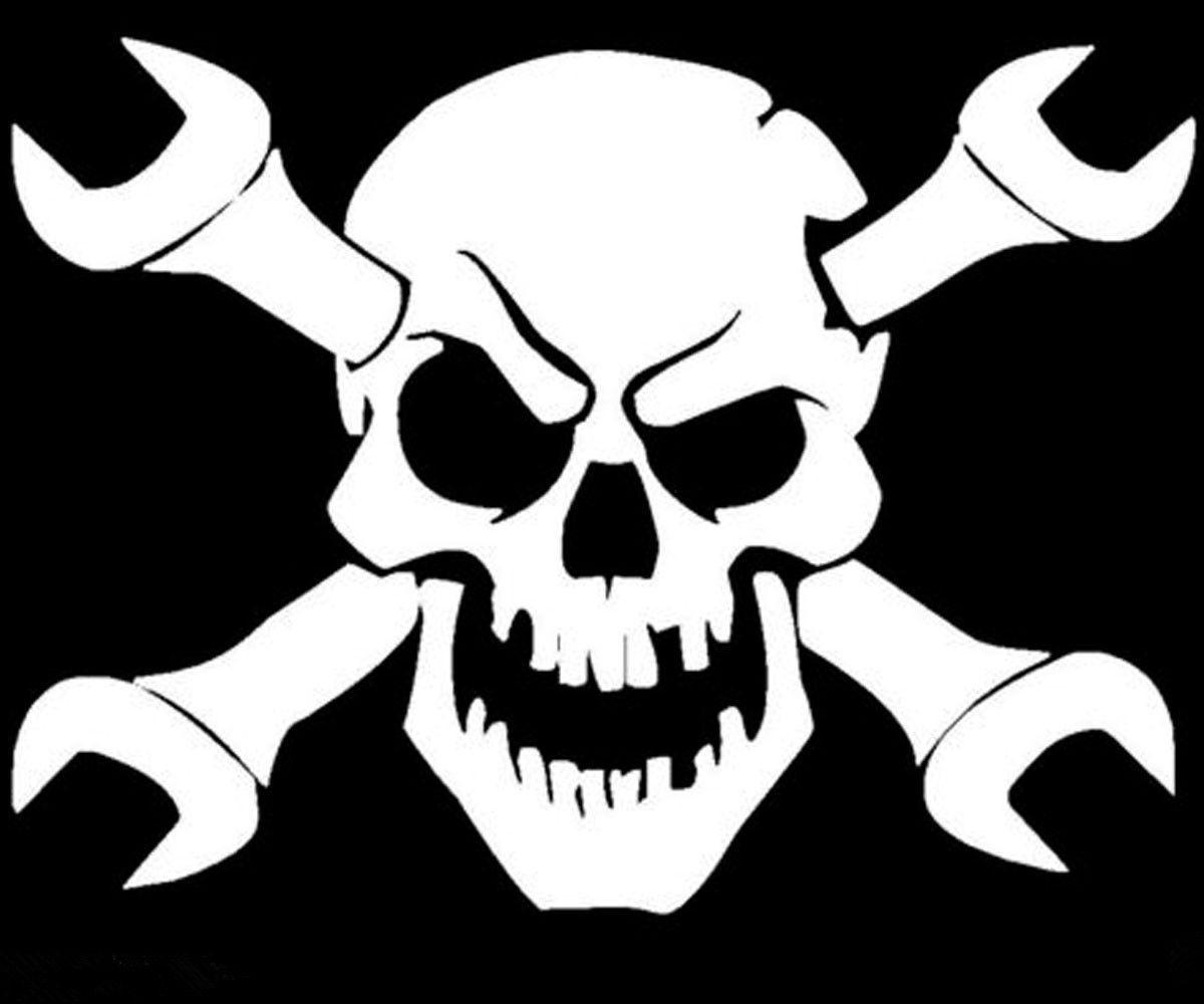 Skull Skeleton Bone Crossbone Wrench Decal Vinyl Car