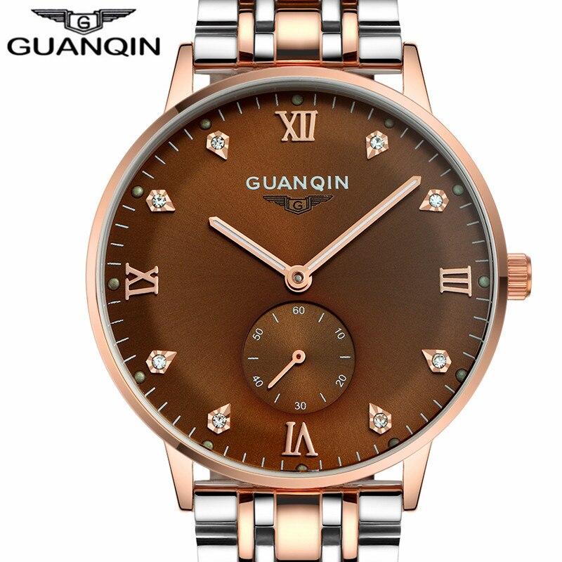 ФОТО GUANQIN Watches Men Business Reloj Stainless Steel Luminous Wristwatch Mens Fashion Automatic Mechanical Watch Relogio Masculino