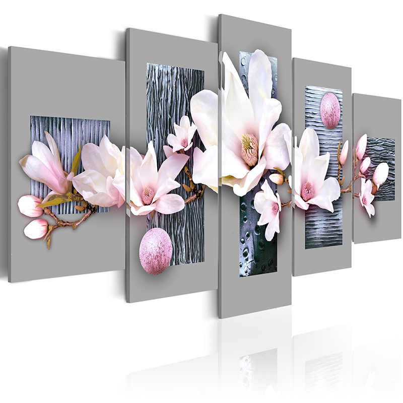 5 pieces/set Flower series Picture Print Painting On Canvas Wall Art Home Decor Living Room Canvas Art PJMT-B (156)