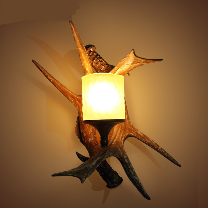 Antlers wall lights type retro bedroom lamp bedside lamp bar cafe decorations hone light ...