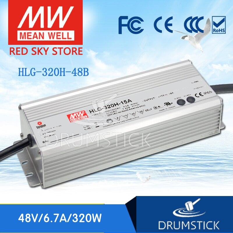 Продажи Горячие означает хорошо HLG-320H-48B 48 В 6.7A meanwell HLG-320H 48 В '321. 6 Вт один Выход светодиодный драйвер Питание B Тип