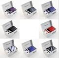 Tie set Nuevo estilo 6 unids/set hombres corbatas de moda de Seda conjunto de la corbata de Tela Escocesa de La Raya Sirve el Lazo Corbatas con caja de regalo ENVÍO