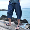 2017 Summer New fashion linen pants 7 capris fluid loose casual wide leg pants men's clothing harem pants thin singer costumes
