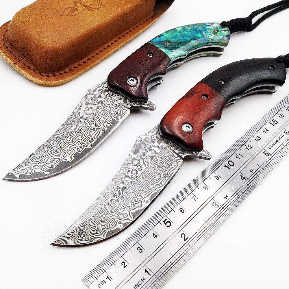 JSSQ Poche Couteau Pliant VG10 Damas Lame Shell Rosewood Poignée Couteaux Survie Camping Chasse Tactique Couteau EDC Outils
