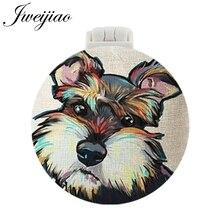 JWEIJIAO Little Dog Pet DIY Cartoon Photo Pocket Mirror With Massage Comb Girls Folding Compact Portable Make up Tools