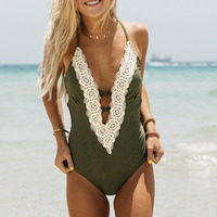 Cupshe Enormous Enjoyment Lace One Piece Swimsuit V Neck Lace Crochet Bikini Set Bathing Suit Swimwear
