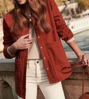 New corduroy long sleeve shirt blusas femininas elegante casual women blouse