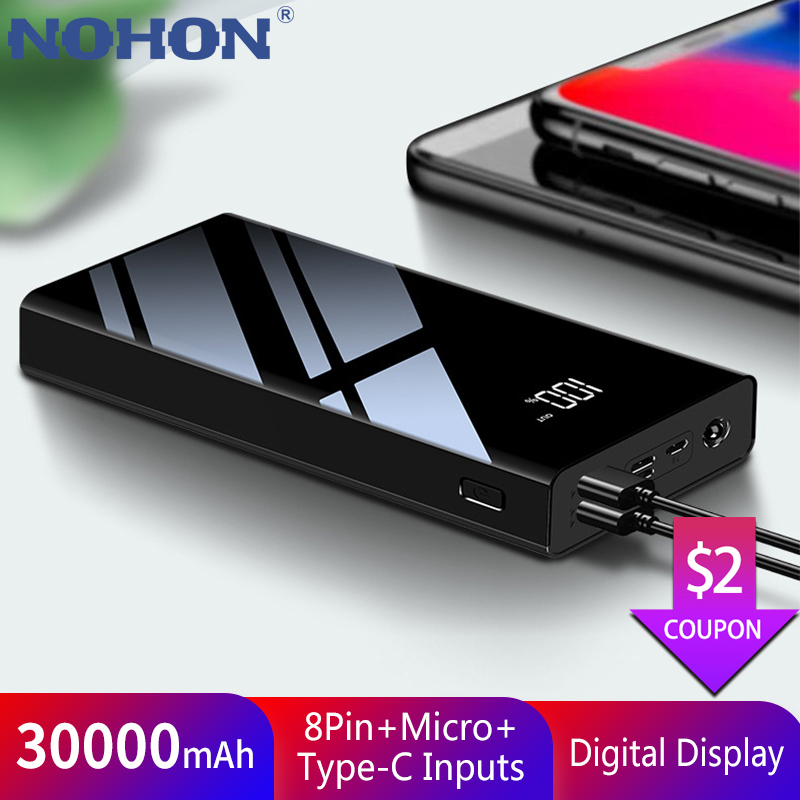 NOHON 30000mAh <font><b>Power</b></font> <font><b>Bank</b></font> Type C For iPhone X Samsung S10 <font><b>Xiaomi</b></font> Mi Huawei <font><b>30000</b></font> <font><b>mAh</b></font> Powerbank Mini External Battery Poverbank image