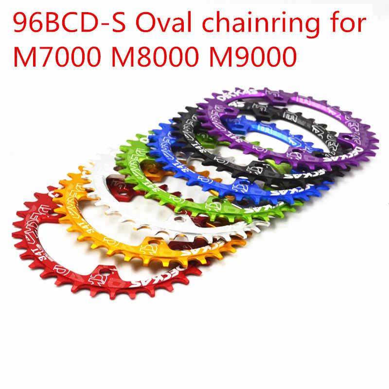 Deckas オーバルギア MTB マウンテンバイク自転車チェーンリング BCD 96 ミリメートル 32/34/36/38T プレート 96BCD-S のため 7-11 速度 M7000 M8000 M9000