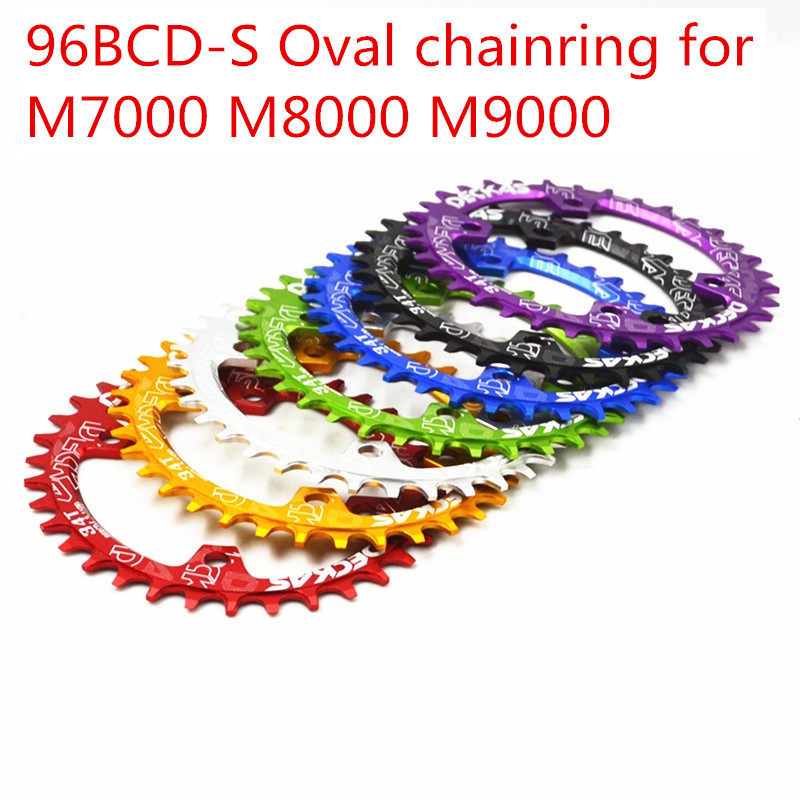 Deckas oval chainring mtb mountain bike bicicleta corrente anel bcd 96mm 32/34/36/38 t placa 96bcd-s para 7-11 velocidade m7000 m8000 m9000