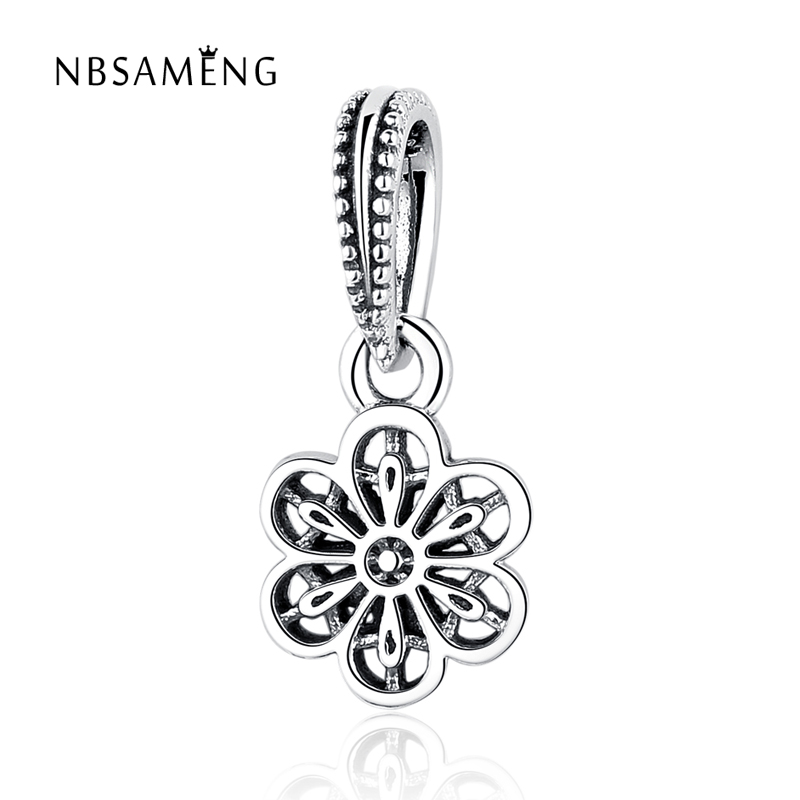 New 100% 925 Sterling Silver Bead Charm Cute Flower DIY Charms Blossom Pendant Fit Pando ...