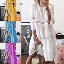 White Summer Dress Women Hollow Out Yellow Boho Dresses Plus Size Ladies Lace Casual Loose Blue Midi