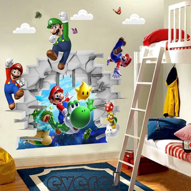 Charming 3D View Super Mario Games Art Kids Room Decor Wall Sticker Wall Decals  Mural WS