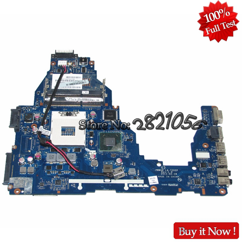 NOKOTION Laptop Motherboard For Toshiba Satellite C660 K000124370 LA-7202P Mainboard HM65 DDR3 GMA HD3000 Tested