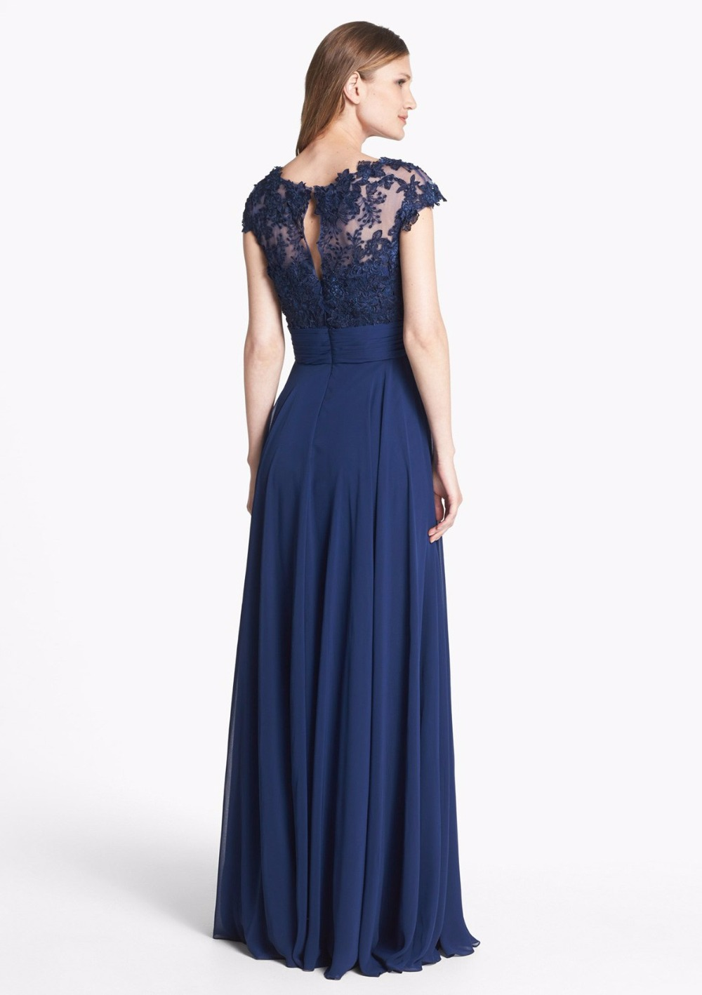 Navy Blue Lace Chiffon Long Modest Bridesmaid Dresses Cap Sleeves Summer Formal  Wedding Party Dress Maids of Honor Dresses-in Bridesmaid Dresses from ... d545ccd189ef