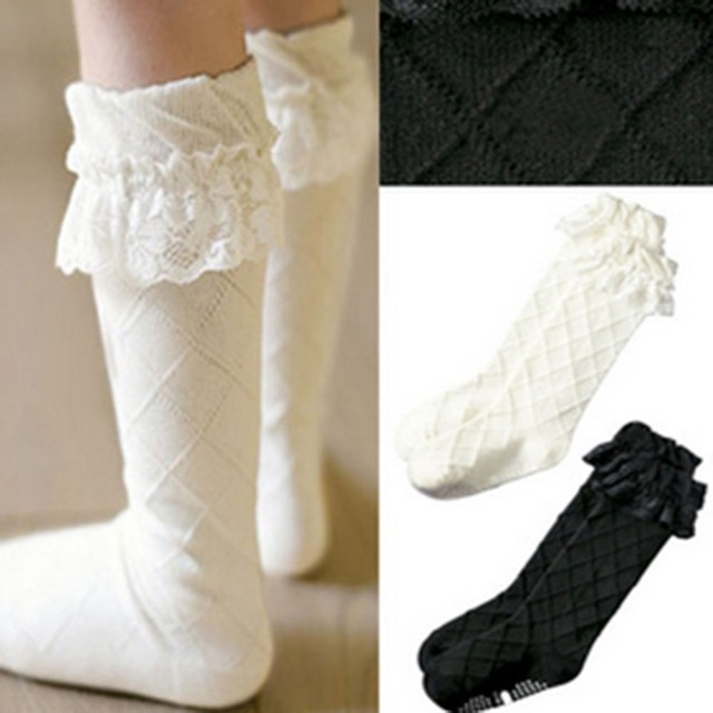 4ed37a459 Trendy Toddler Girls Lace Socks Thick Cotton Knee Length High Socks 3-8Y