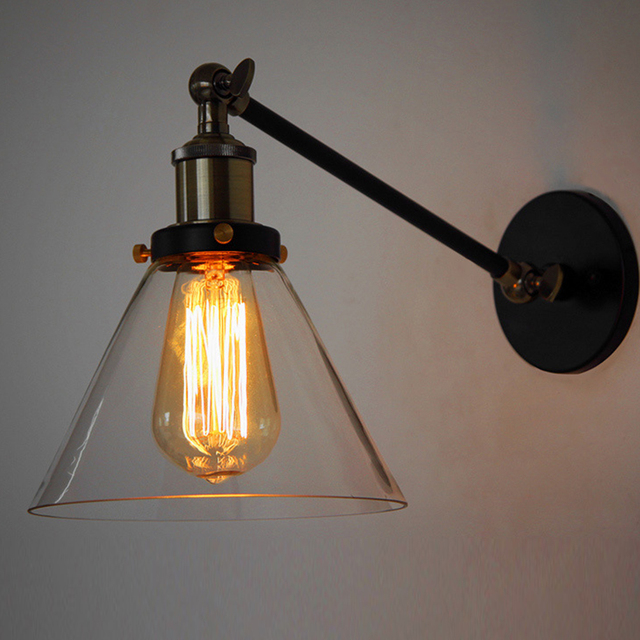 Nordic Industrial Vintage Loft Swing Arm Wall Sconce Retro Warehouse Ambient Lighting Glass Lampshade Light