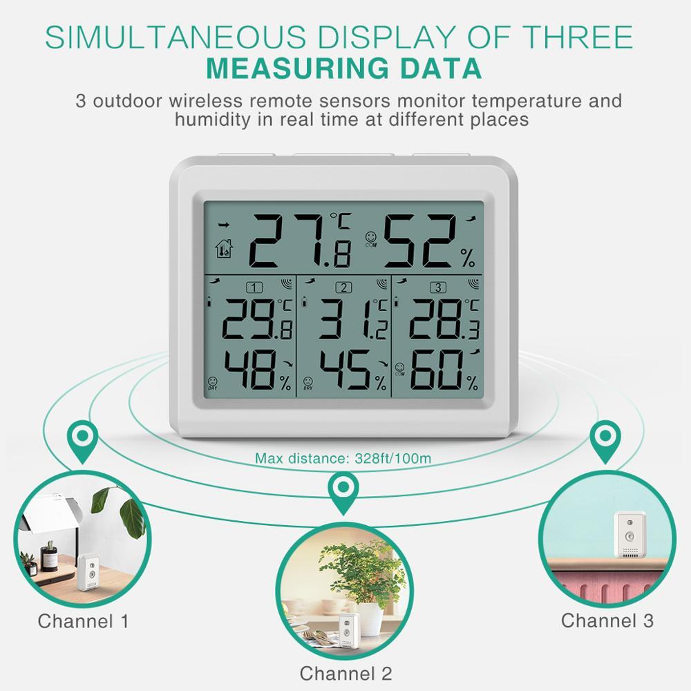 Image 5 - Термометр с гигрометром ORIA, цифровой термометр с ЖК дисплеем,  беспроводной датчик температуры и влажности в помещении, пульт  дистанционного управленияДатчики температуры