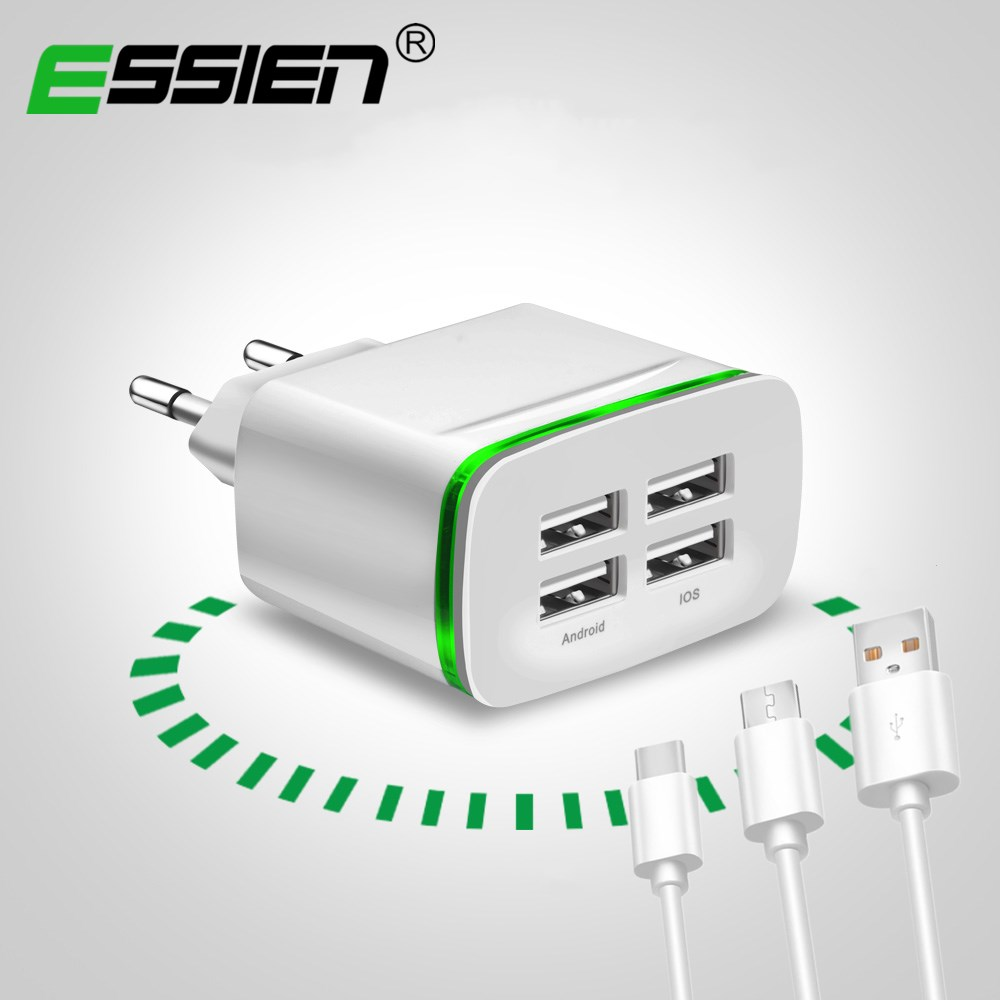 ESSIEN 4 Port Micro USB/Type C Phone Charger LED Display EU Plug Smart Fast Charging Mobile Wall Charger for Samsung Huawei HTC