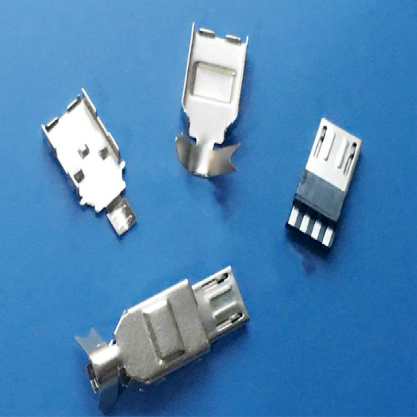 5sets Micro USB Type B Male 5pin <font><b>Jack</b></font> connector plug Tail Charging Port Welding Metal Plug <font><b>3</b></font> in 1 <font><b>5</b></font> pin DIY image
