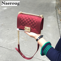 Fashion Ladies High Quality PVC Jelly Bag Casual Diamond Lattice Chain Shoulder Crossbody Bags Famous Design Purse and Handbags