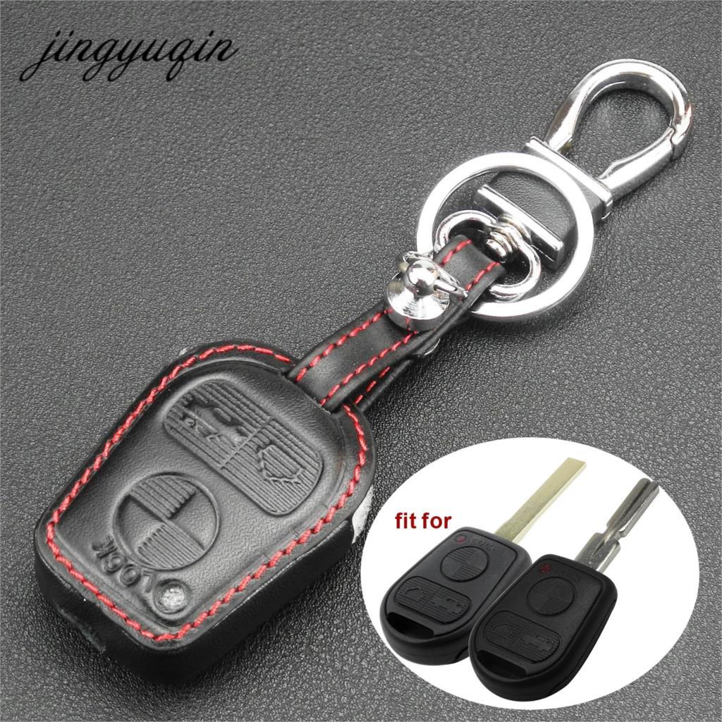 Jingyuqin 3 Button Car Key Remote Key Leather Case For BMW E31 E32 E34 E36 E38 E39 E46 Z3 Fob Key Shell Cover Holder