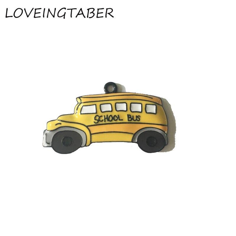 Mais novo 49mm * 23mm 10 pçs/lote bonito todos os pingentes de ônibus escolar esmalte para crianças jóias fazendo