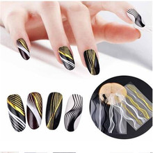 Metal Lines 3D Nail Stickers 1Pc Gold Multi-size Wave Strip Art Adhesive Transfer Sticker Water Slide Tips