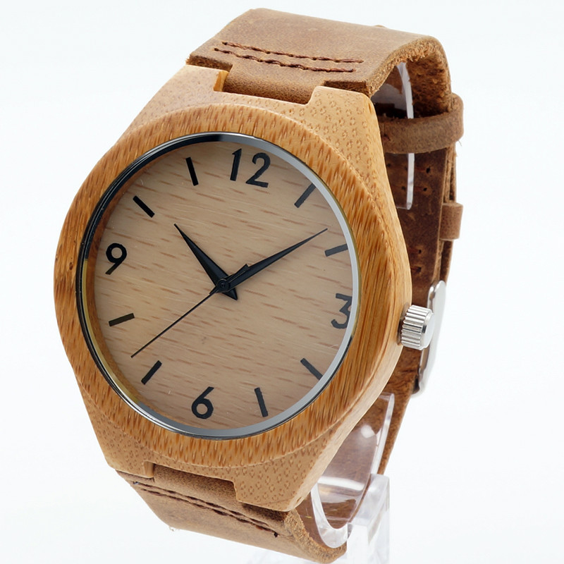 BOBO BIRD Fashion Wooden Mens Watches Quartz Analog Watches Casual Cool Watch with Brown Leather Strap in Gift Box bobo bird mens wooden strap watches